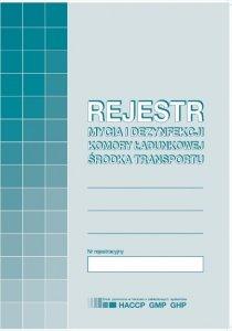 Druk akcydensowy Rejestr mycia i dezynfekcji komory ładunkowej środka transportu MiP, A5, offsetowy, 16k