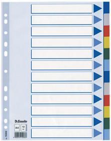 Przekładki plastikowe z kolorowymi indeksami Esselte, A4,12 kart, mix kolorów