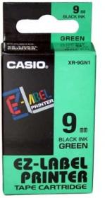 Taśma do drukarek etykiet Casio XR-9GN1, 9mmx8m, zielona/czarny nadruk