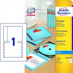 Wkładki do pudełek na płyty CD/DVD Avery Zweckform, 151x118mm, 25 arkuszy, biały