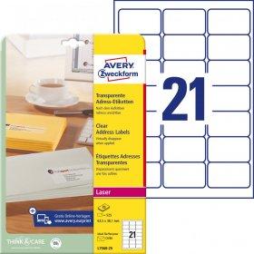 Etykiety adresowe Avery Zweckform QuickPeel, 63.5x38.1mm, 25 arkuszy, przezroczysty