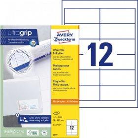 Etykiety uniwersalne Avery Zweckform, 97x42.3mm, 100 arkuszy, biały