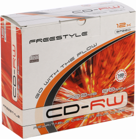 Płyta CD-RW Omega Freestyle, do wielokrotnego zapisu, 700 MB, slim, 10 sztuk