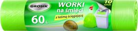 Worki na śmieci z taśmą Grosik, LD, 60l, 10 sztuk, zielony