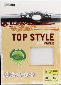 Papier ozdobny Top Style, Linen, A4, 220g/m2, 20 arkuszy, biały