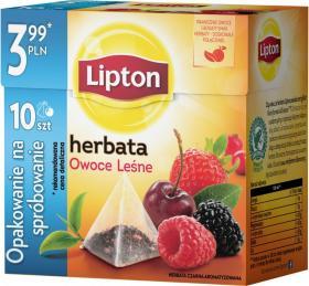 Herbata czarna smakowa w piramidkach Lipton, owoce leśne, 10 sztuk x 2g