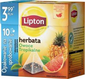 Herbata smakowa czarna w piramidkach Lipton, owoce tropikalne, 10 sztuk x 1.2g