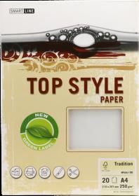 Papier ozdobny Top Style, Tradition, A4, 250g/m2, 20 arkuszy, biały