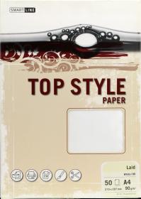 Papier ozdobny Top Style Laid, A4, 100g/m2, 50 arkuszy, biały