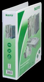 Segregator prezentacyjny Leitz, A4, szerokość grzbietu 77mm, do 480 kartek, 4 ringi, biały