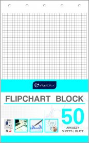 Blok do flipchartów Interdruk, 100x64cm, w kratkę, 50 kart