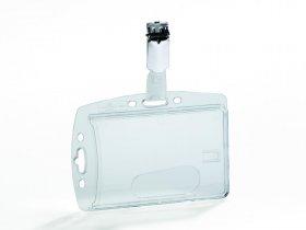 Etui z klipem na 1 kartę identyfikacyjną Durable, do kart, 85x54 mm, przezroczysty
