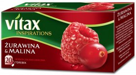 Herbata owocowa w torebkach Vitax Inspirations, żurawina i malina, 20 sztuk x 2g