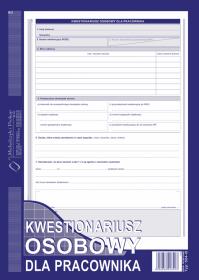 Druk akcydensowy kwestionariusz osobowy dla pracownika MiP 504-B, A4, offsetowy, 40k