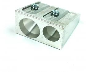 Temperówka Kum, metal, 2 otwory, srebrny