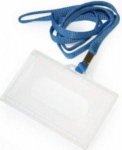 Holder do identyfikatorów Argo, z taśmą niebieską, 92x59mm, przezroczysty