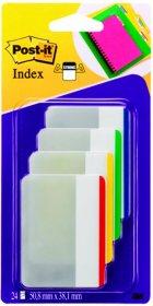 Zakładki samoprzylepne Post-it proste, indeksujące, silne, folia, transparentne, 50.8x38mm, 4x6 sztuk, mix kolorów