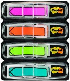 Zakładki samoprzylepne Post-it proste, z nadrukiem strzałki, indeksujące, folia, 12x43mm, 4x24 sztuki neonowe