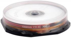 Płyta CD-R Omega, do jednokrotnego zapisu, 700 MB, cake box, 10 sztuk