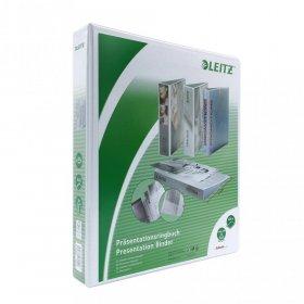 Segregator prezentacyjny Leitz, A4, szerokość grzbietu 51mm, do 280 kartek, 4 ringi, biały