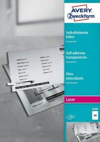 Folia samoprzylepna Avery Zweckform 3480, do kolorowych drukarek laserowych i kopiarek, A4, 100 arkuszy, przezroczysty