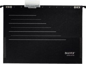 Teczka zawieszana kartonowa Leitz Alpha Active, A4, z rozciągliwymi bokami, 225g/m2, czarny