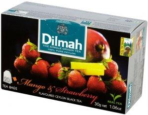 Herbata czarna aromatyzowana w torebkach Dilmah, mango i truskawka, 20 sztuk x 1.5g