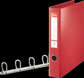 Segregator Esselte Combi, A4, szerokość grzbietu 60mm, do 380 kartek, 4 ringi, czerwony