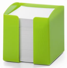 Pojemnik z białymi karteczkami Durable Trend, 100x105x100mm, 800 karteczek, zielony
