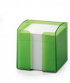 Pojemnik z białymi karteczkami Durable Trend, 100x105x100mm, 800 karteczek, transparentny zielony