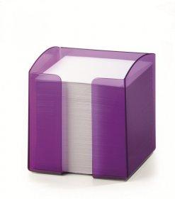 Pojemnik z białymi karteczkami Durable Trend, 100x105x100mm, 800 karteczek, transparentny fioletowy