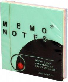 Karteczki samoprzylepne Dalpo, 75x75mm, 100 karteczek, mix kolorów pastelowych