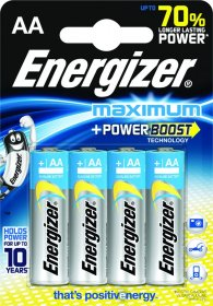 Bateria alkaliczna Energizer Maximum, AA, 1.5V, LR6, 4 sztuki