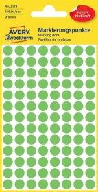 Etykiety oznaczeniowe Avery Zweckform, okrągłe, średnica 8mm, 416 sztuk zielone odblaskowe
