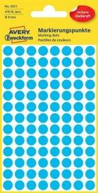 Etykiety oznaczeniowe Avery Zweckform, okrągłe, średnica 8mm, 416 sztuk niebieskie