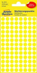 Etykiety oznaczeniowe Avery Zweckform, okrągłe, średnica 8mm, 416 sztuk żółte