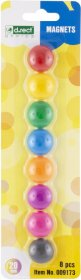 Magnesy Leviatan Deli, 20 mm, 8 sztuk, mix kolorów