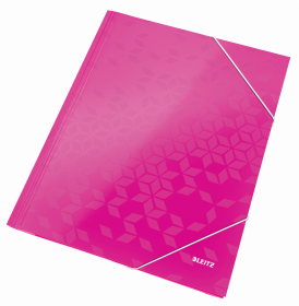 Teczka kartonowa z narożną gumką Leitz Wow, A4, 300g/m2, 3mm, różowy