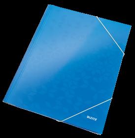 Teczka kartonowa z narożną gumką Leitz Wow, A4, 300g/m2, 3mm, niebieski