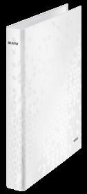 Segregator Leitz Wow, A4, szerokość grzbietu 40mm, do 230 kartek, 4 ringi, biały