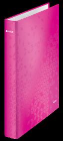 Segregator Leitz Wow, A4, szerokość grzbietu 40mm, do 230 kartek, 4 ringi, różowy