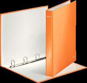 Segregator Leitz Wow, A4, szerokość grzbietu 40mm, do 230 kartek, 4 ringi pomarańczowy