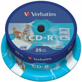 Płyta CD-R Verbatim, do nadruku, do jednokrotnego zapisu, 700 MB, cake box, 25sztuk