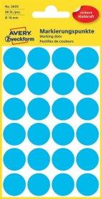 Etykiety Avery Zweckform, okrągłe, średnica 18mm, 96 sztuk niebieski