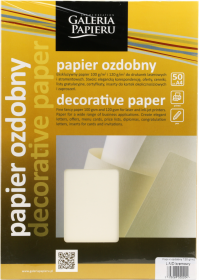 Papier ozdobny Laid Galeria Papieru, A4, 120g/m2, 50 arkuszy, kremowy