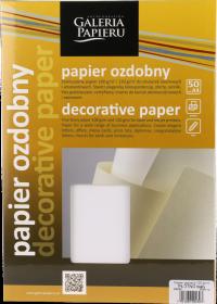 Papier ozdobny Płótno Galeria Papieru, A4, 120g/m2, 50 arkuszy, biały