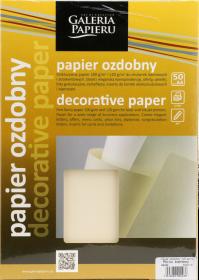 Papier ozdobny Płótno Galeria Papieru, A4, 120g/m2, 50 arkuszy, kremowy