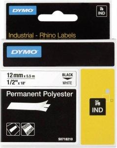 Taśma do drukarek etykiet Dymo S0718210, poliestrowa, 12mmx5.5m, biały/czarny nadruk