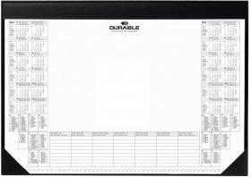 Podkład na biurko Durable, z kalendarzem 2020/2021 i notatnikiem, 59x42cm, z listwą, czarny