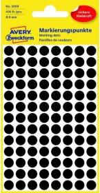 Etykiety oznaczeniowe Avery Zweckform, okrągłe, średnica 8mm, 416 sztuk czarne